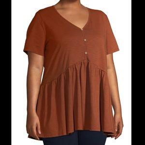 Terra & Sky Rust Knit Babydoll Henley Blouse 0X
